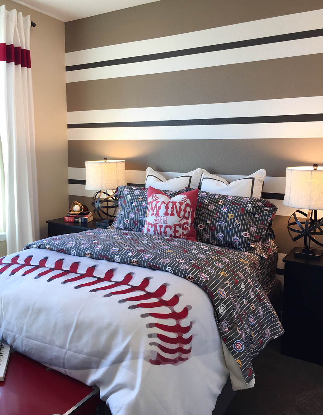 Baseball-Themed Variegated Stripe Painted Wall at Ruby Meadows by Meritage Homes