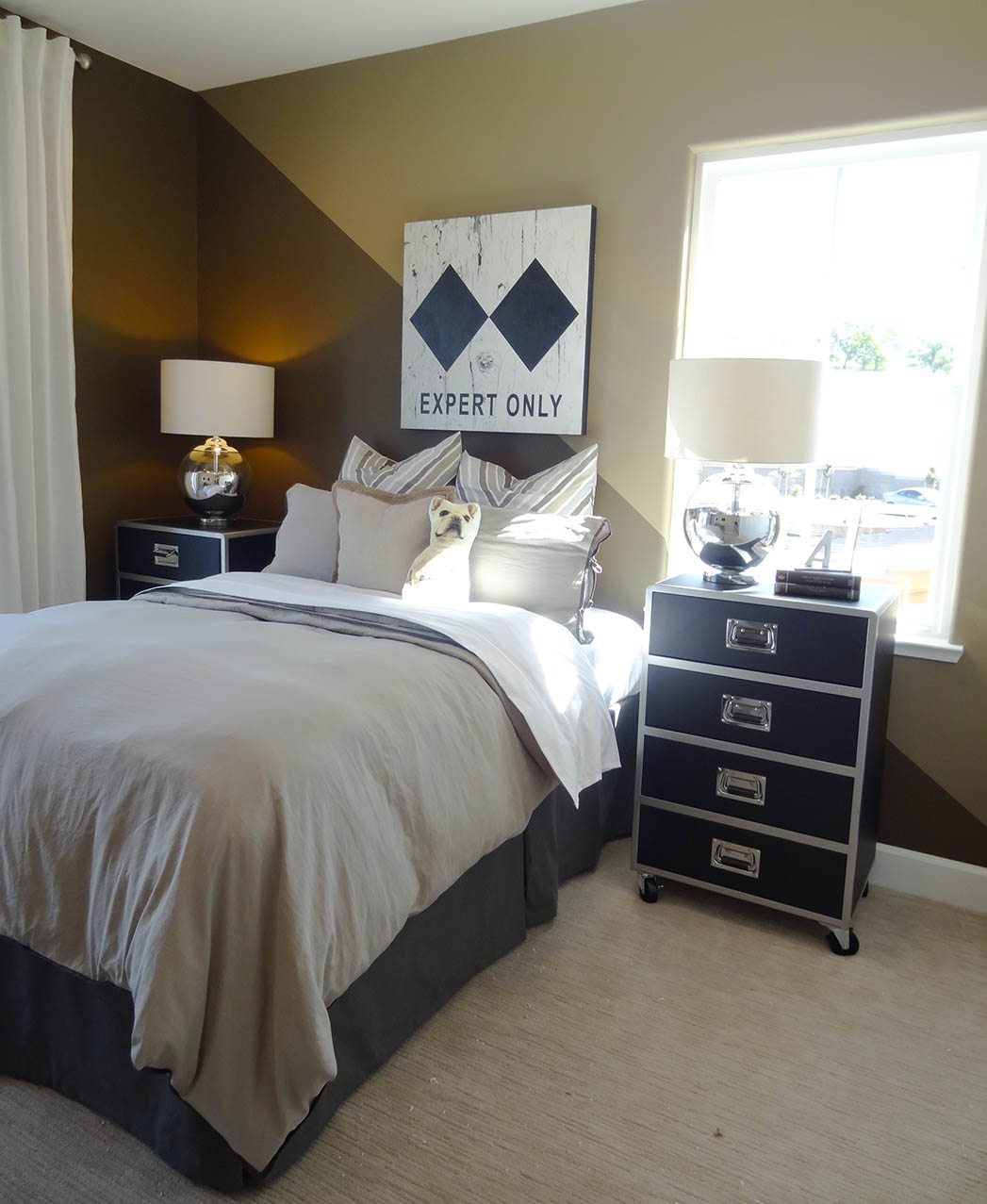 Diagonal Split Wall Paint Idea at Village at Promontory by CalAtlantic Homes